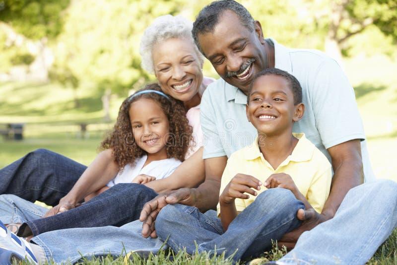 Afrikaanse Amerikaanse Grootouders met Kleinkinderen die in Park ontspannen stock foto's