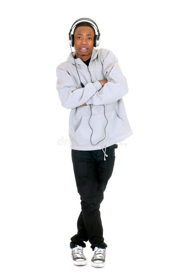 Afrikaanse Amerikaanse hoofdtelefoon stock afbeelding