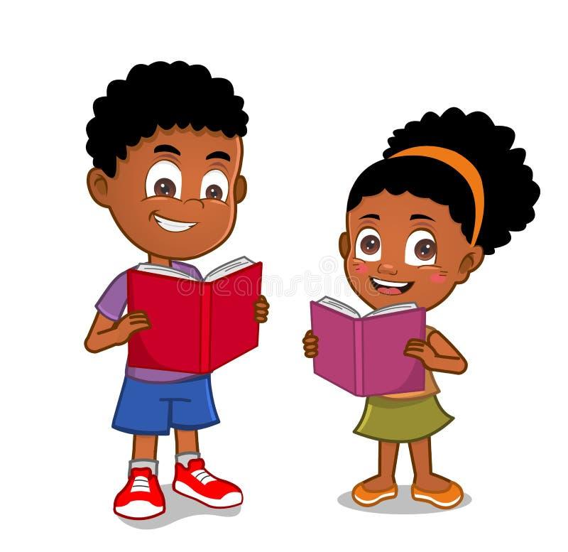 Afrikaanse Amerikaanse jonge geitjes die boeken lezen stock illustratie