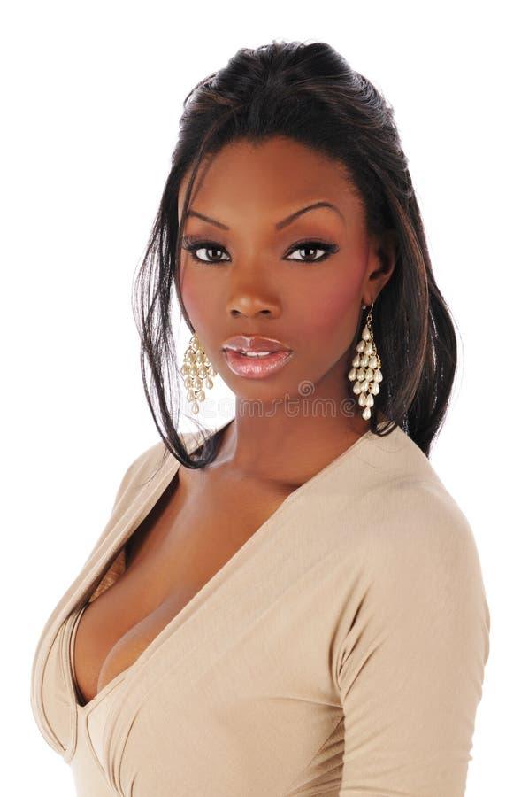 Afrikaanse Amerikaanse jonge maniervrouw stock fotografie