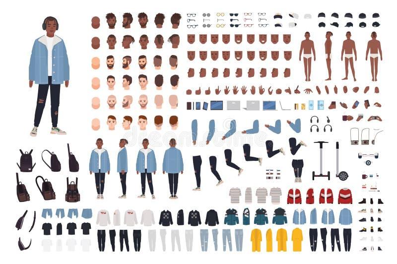 Afrikaanse Amerikaanse kerel in de reeks van de de uitrustingsaannemer van de straatstijl of DIY-uitrusting Bundel van lichaamsde royalty-vrije illustratie