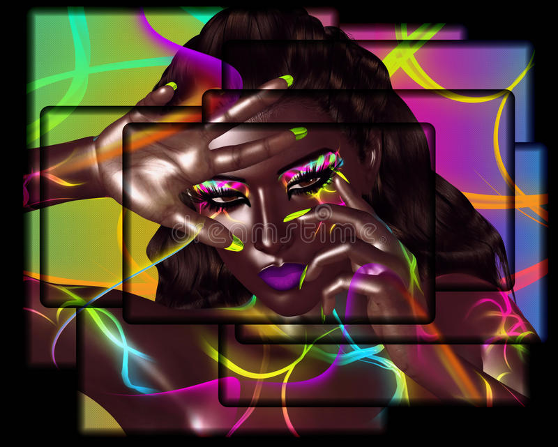 Afrikaanse Amerikaanse Manierschoonheid Een overweldigend kleurrijk beeld van een mooie vrouw met aanpassingsmake-up, toebehoren  stock illustratie