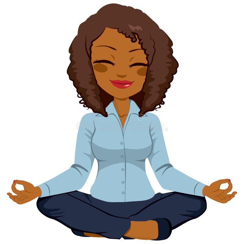 Afrikaanse Amerikaanse Onderneemster Yoga stock illustratie
