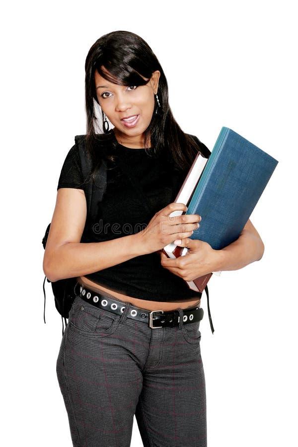 Afrikaanse Amerikaanse student met boeken royalty-vrije stock foto