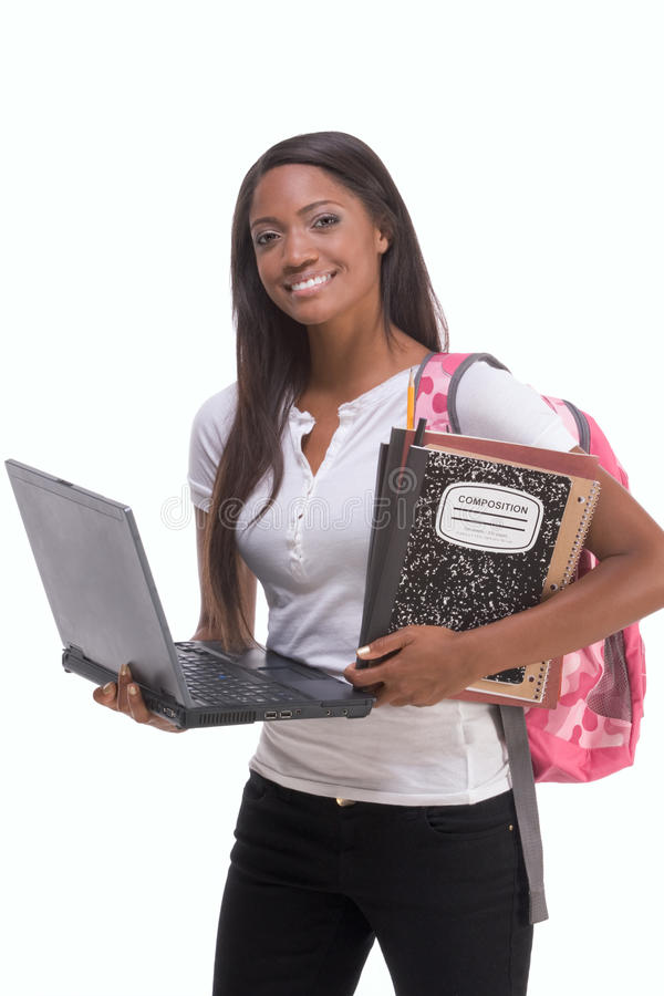 Afrikaanse Amerikaanse Student met laptop PC royalty-vrije stock fotografie