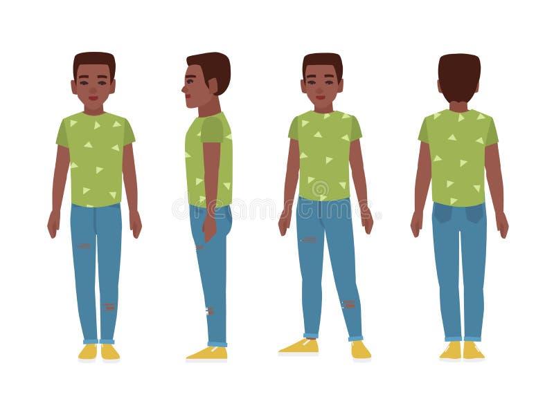 Afrikaanse Amerikaanse tiener of tiener die blauwe haveloze jeans, groene t-shirt en misstap-ONS dragen vlak beeldverhaalkarakter vector illustratie