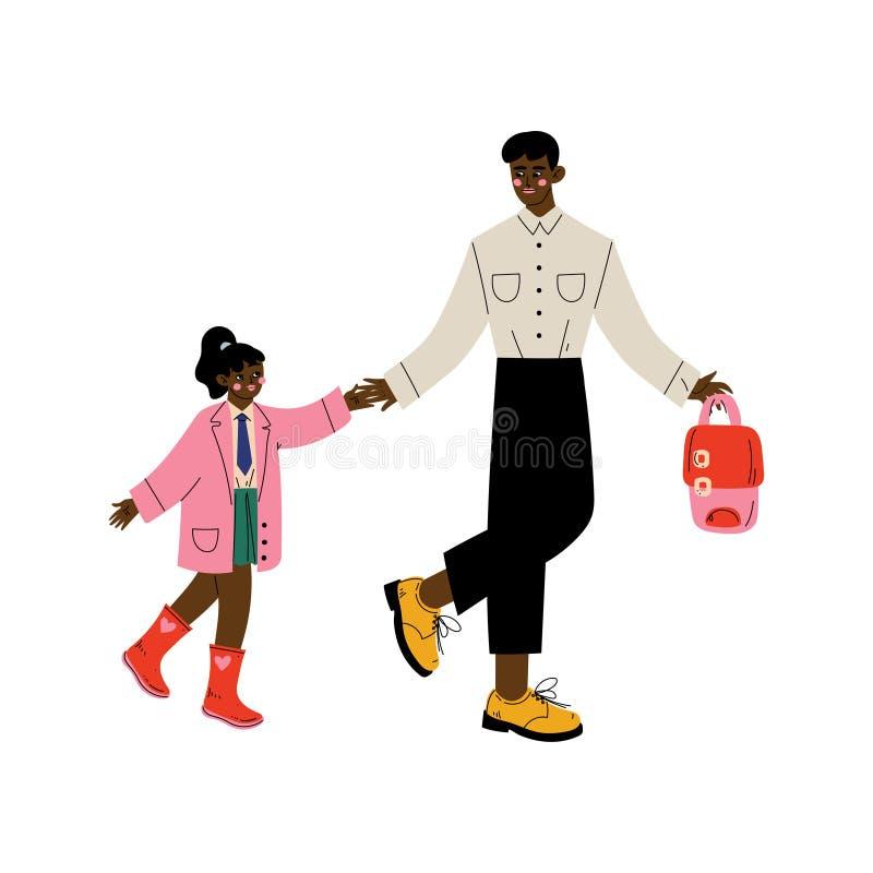 Afrikaanse Amerikaanse Vader Leading His Daughter aan School, Leuk Meisje en Haar Papa die samen Vectorillustratie lopen royalty-vrije illustratie