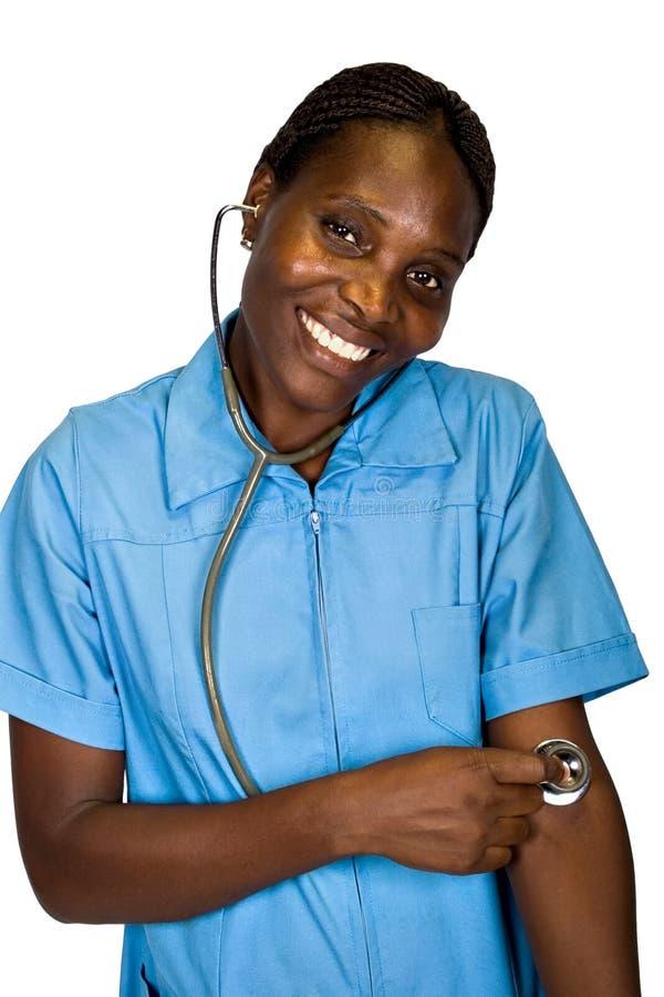 Afrikaanse Amerikaanse verpleegster royalty-vrije stock foto's