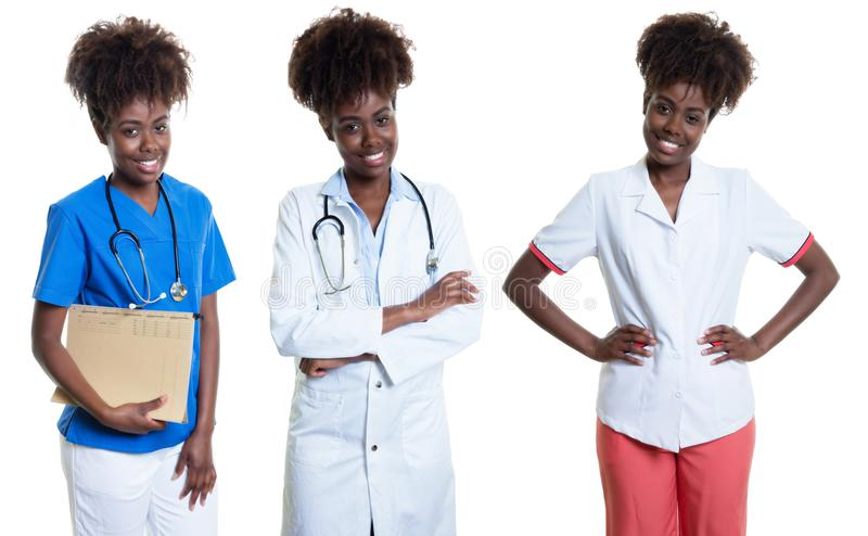 Afrikaanse Amerikaanse vrouw als verpleegster en arts en vrouwelijke apotheker stock foto