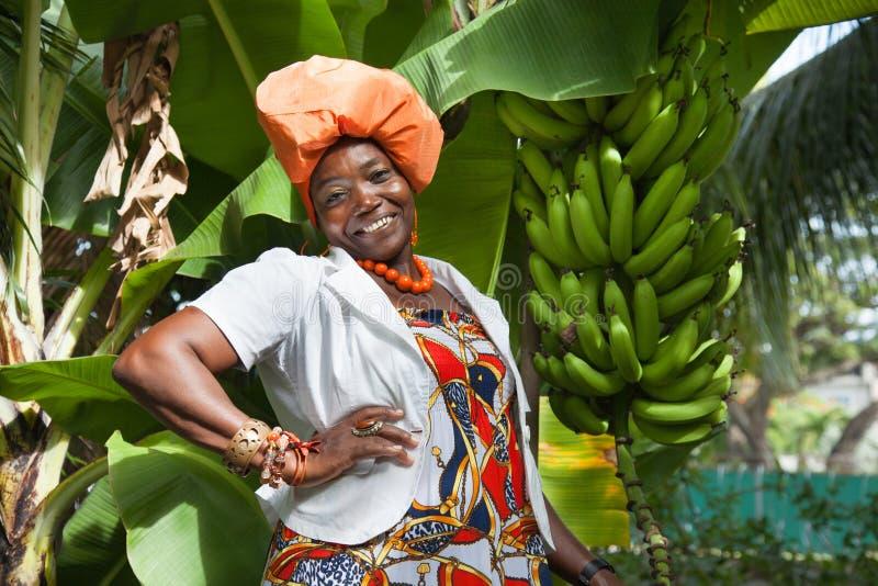 Afrikaanse Amerikaanse vrouw die een heldere kleurrijke nationale kleding dragen stock afbeelding