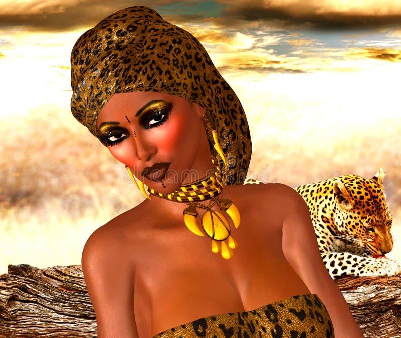Afrikaanse Amerikaanse Vrouw op de Manier van de Luipaarddruk met Mooie Schoonheidsmiddelen en Hoofdsjaal vector illustratie