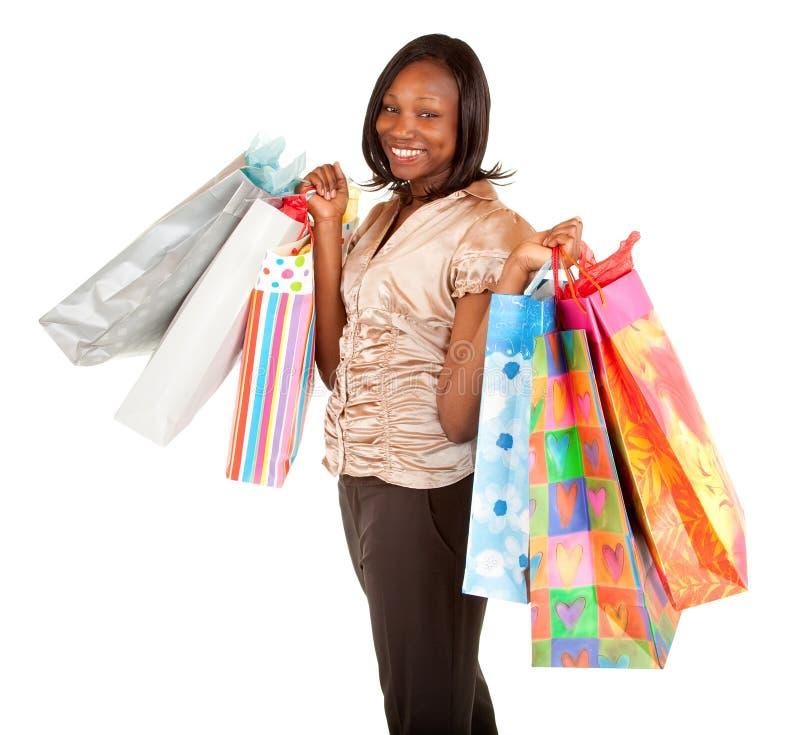 Afrikaanse Amerikaanse Vrouw op een Aanval van koopwoede stock afbeeldingen