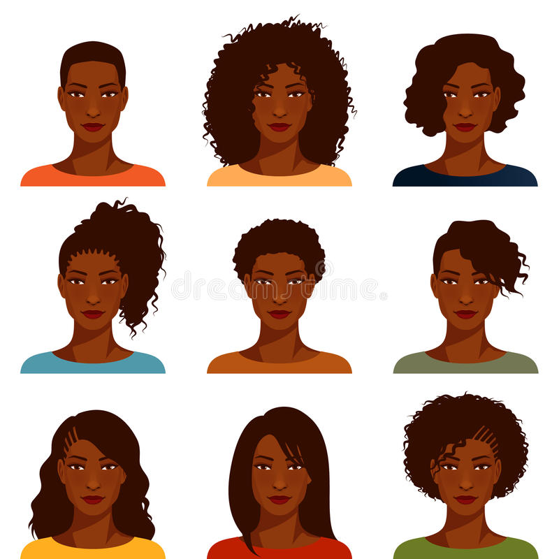 Afrikaanse Amerikaanse vrouwen met divers kapsel vector illustratie
