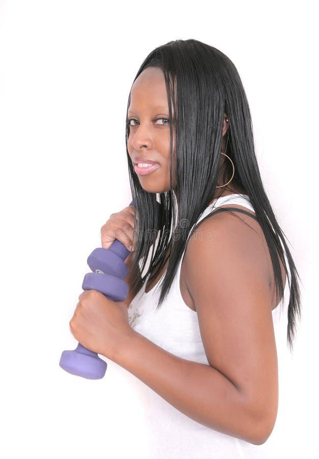 Afrikaanse Amerikaanse vrouwentraining royalty-vrije stock fotografie