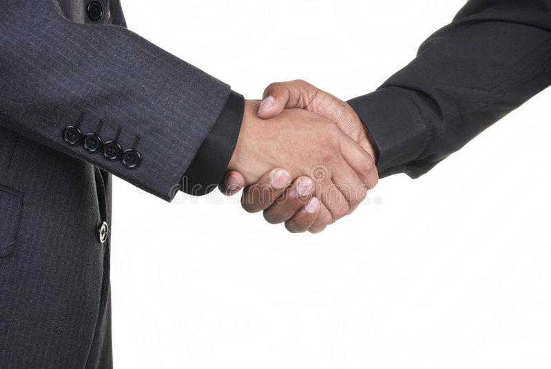Afrikaanse Amerikaanse zakenlieden die handen schudden royalty-vrije stock afbeelding