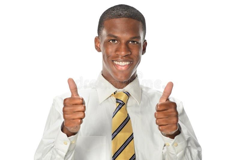 Afrikaanse Amerikaanse Zakenman Showing Thumbs Up stock afbeeldingen