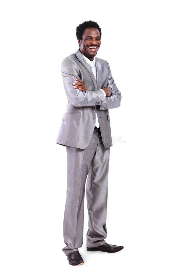Afrikaanse Amerikaanse zakenman in van gemiddelde lengte royalty-vrije stock afbeelding
