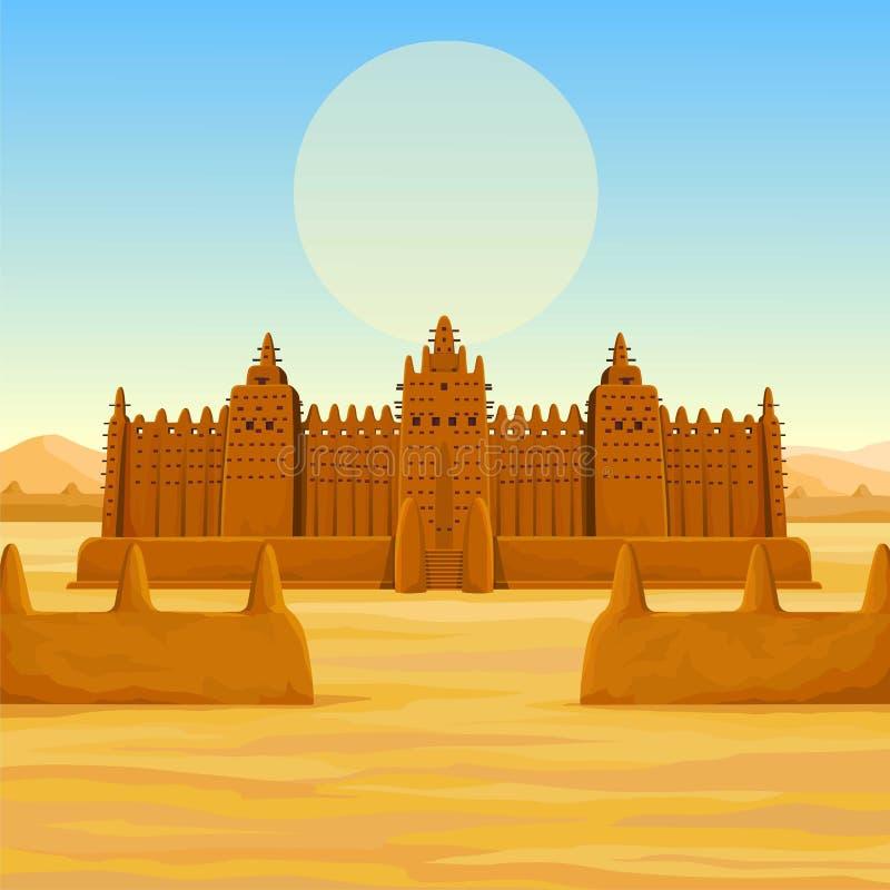 Afrikaanse architectuur Het animatie oude gebouw van klei stock illustratie