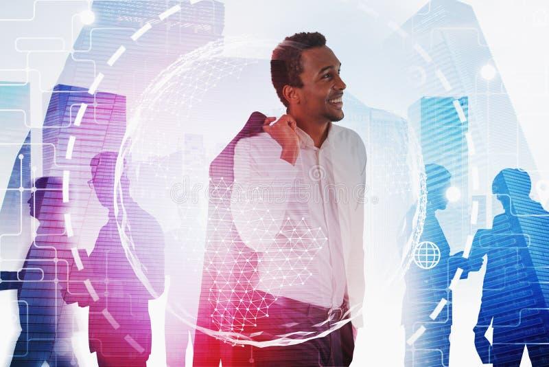 Afrikaanse bedrijfsleider, globale verbinding royalty-vrije stock afbeelding