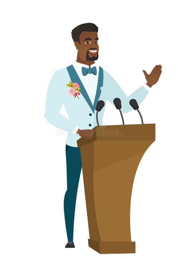 Afrikaanse bruidegom die een toespraak van tribune geven vector illustratie