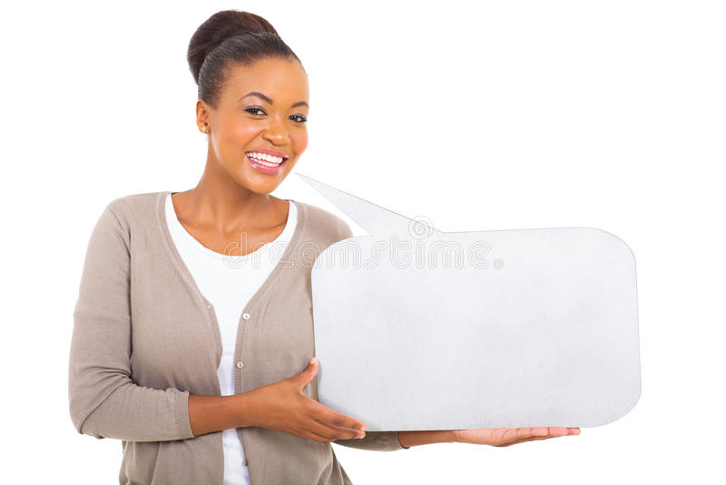 Afrikaanse de toespraakbel van de vrouwenholding royalty-vrije stock foto's