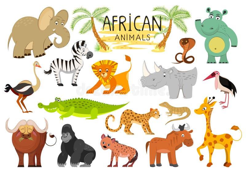Afrikaanse die diereninzameling op witte achtergrond wordt geïsoleerd Vector stock illustratie