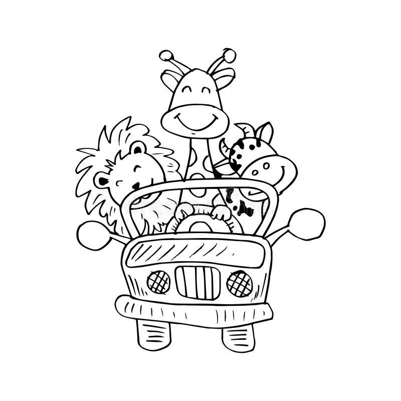 Afrikaanse dieren in auto stock illustratie