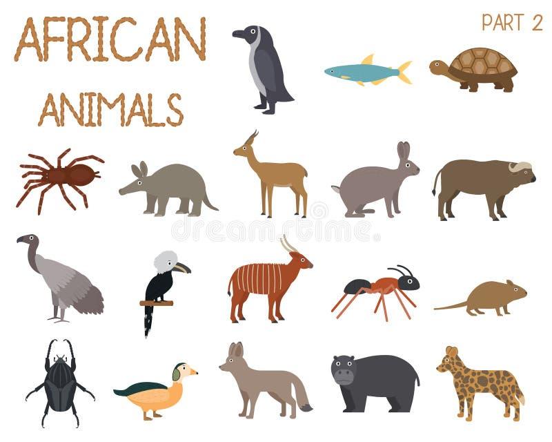 Afrikaanse dierenreeks pictogrammen in vlakke stijl, Afrikaanse fauna, dwerggans, Afrikaanse gier, buffels, gazelledorkas, enz. stock illustratie
