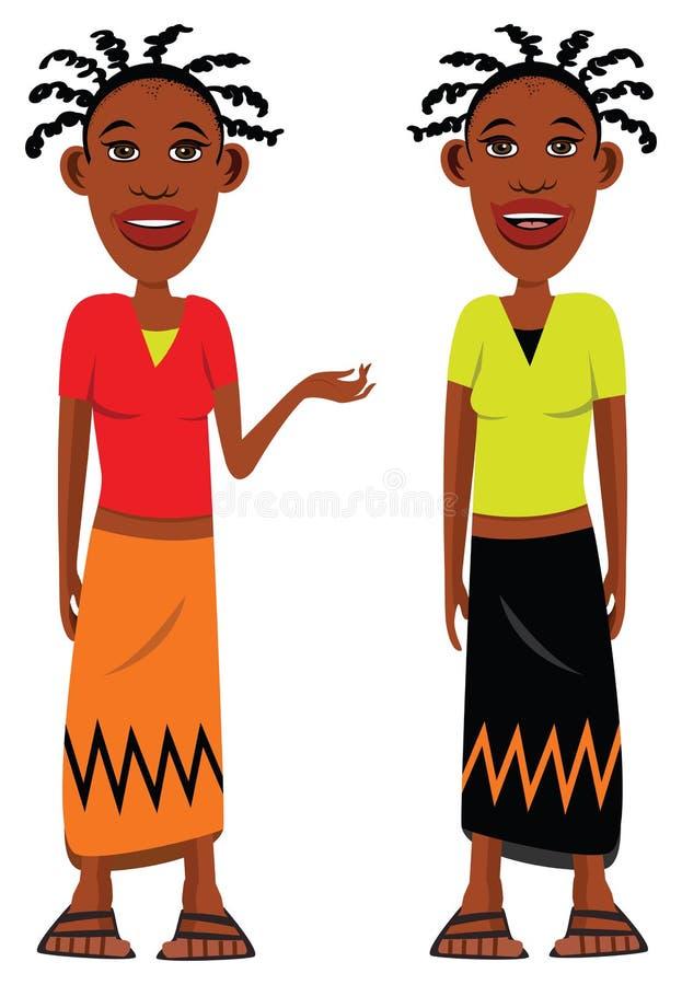 Afrikaanse dorpsmeisjes stock illustratie