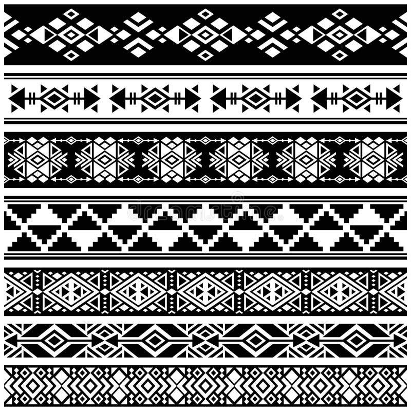 Afrikaanse en Mexicaanse Azteekse Amerikaanse stammen vectorgrenzen, kaderpatronen vector illustratie