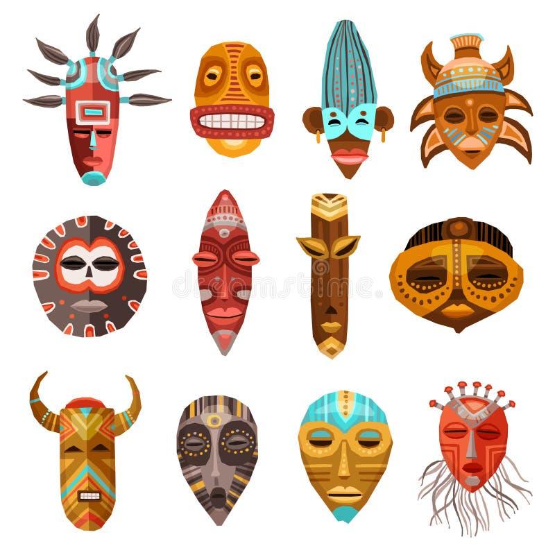 Afrikaanse Etnische Stammen Geplaatste Maskers vector illustratie