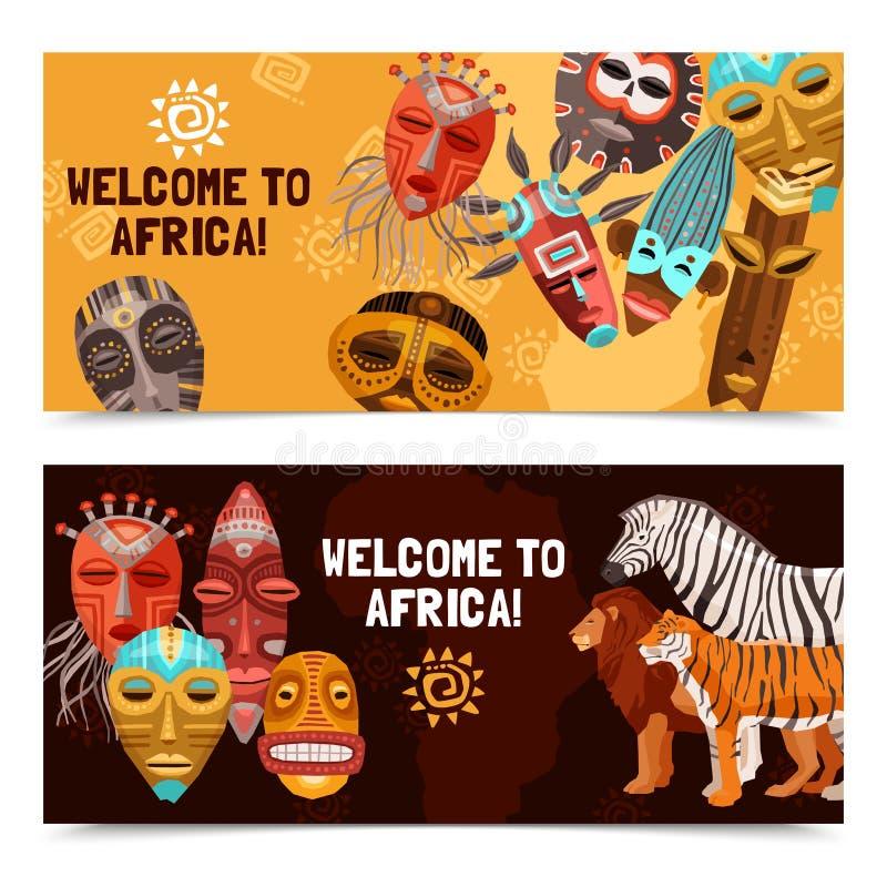 Afrikaanse Etnische Stammenmaskersbanners stock illustratie