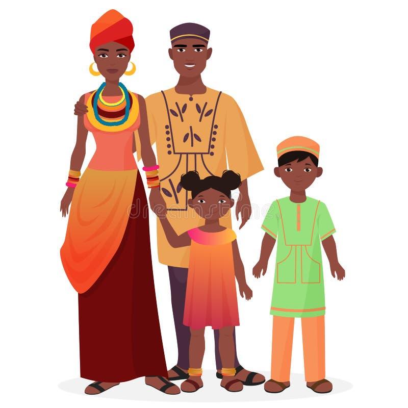 Afrikaanse familie Afrikaanse man en vrouw met jongen en meisjesjonge geitjes in traditionele nationale kleren vector illustratie