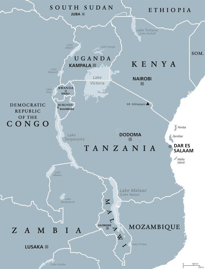 Download Afrikaanse Grote Meren, Grijze Kaart Vector Illustratie - Illustratie bestaande uit nyasa, congo: 114225111