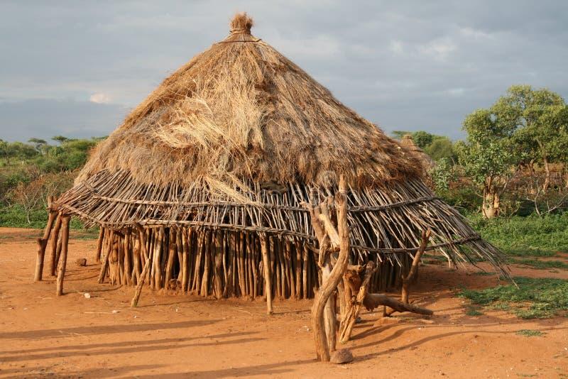 Afrikaanse hoed in Ethiopië stock afbeeldingen