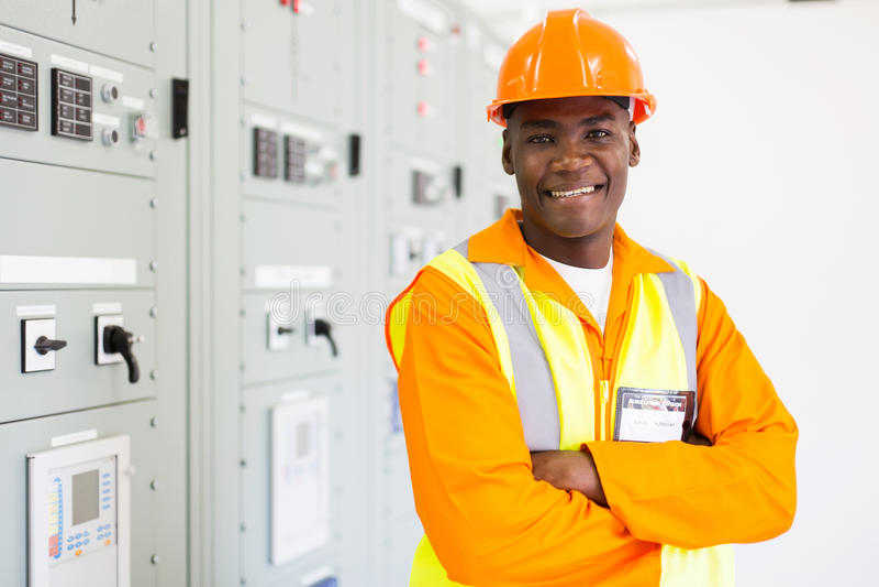 Afrikaanse industriële technicus royalty-vrije stock foto