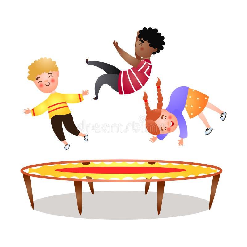 Afrikaanse jongen, het jonge geitje van het blondehaar en meisje die bij trampoline springen stock illustratie