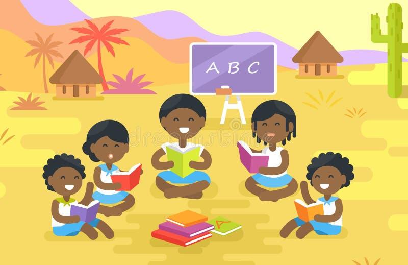 Afrikaanse Kinderen Gelezen Boeken Openlucht in Dorp royalty-vrije illustratie