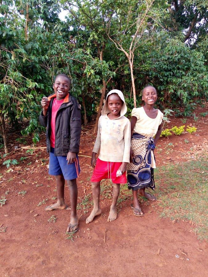 Afrikaanse kinderen in Kapchorwa-het lachen van districtsoeganda royalty-vrije stock foto