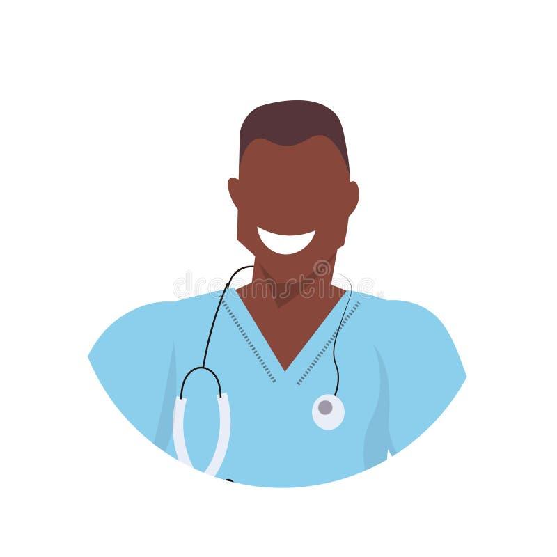 Afrikaanse mannelijke arts met avatar van het stethoscoopgezicht arbeider van de mensen de medische kliniek in eenvormig professi stock illustratie