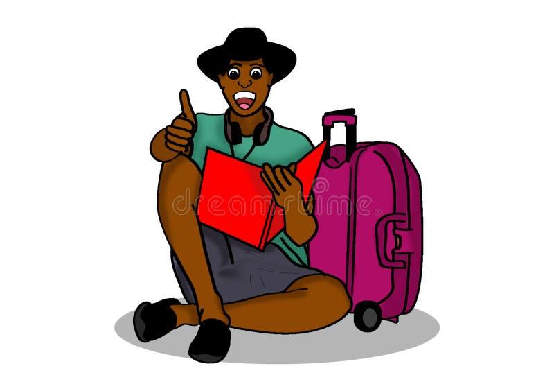 Afrikaanse mens die een boek lezen terwijl het reizen stock illustratie