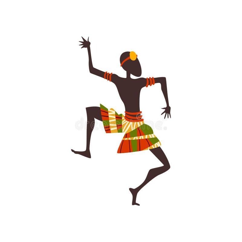 Afrikaanse Mens het Dansen Volks of Rituele Dans, Inheemse Danser in Heldere Traditionele Etnische Kledings Vectorillustratie vector illustratie