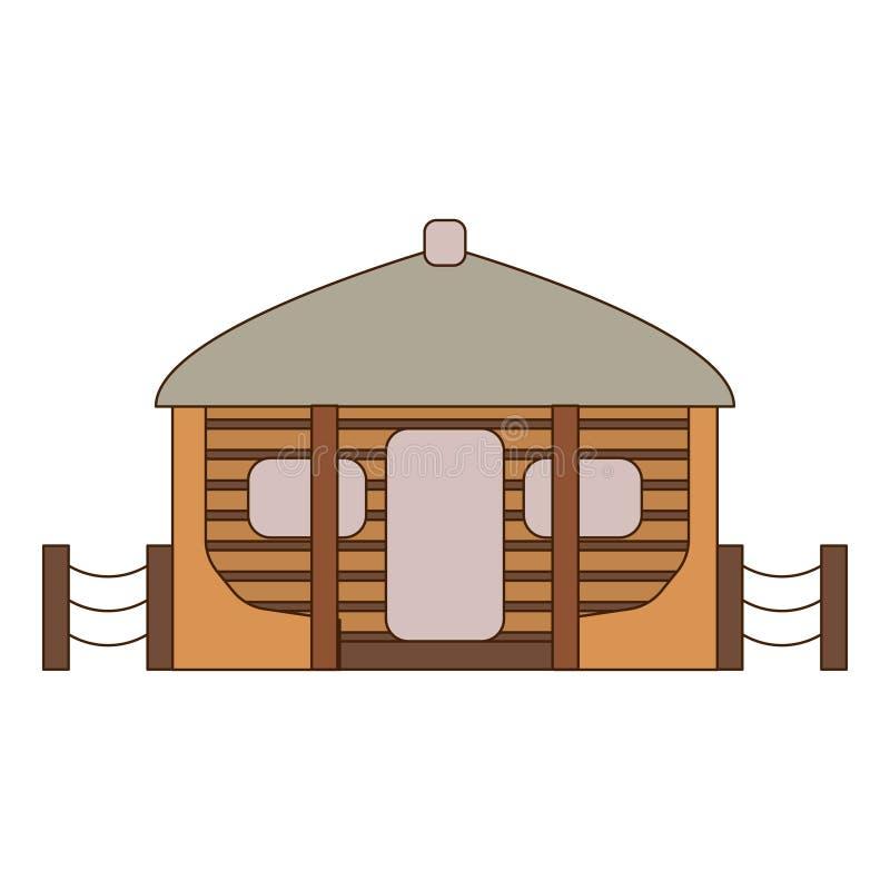 Afrikaanse nationale huizen en woningen Hutten in een Afrikaans dorp Vlakke lijnstijl Vector illustratie stock illustratie