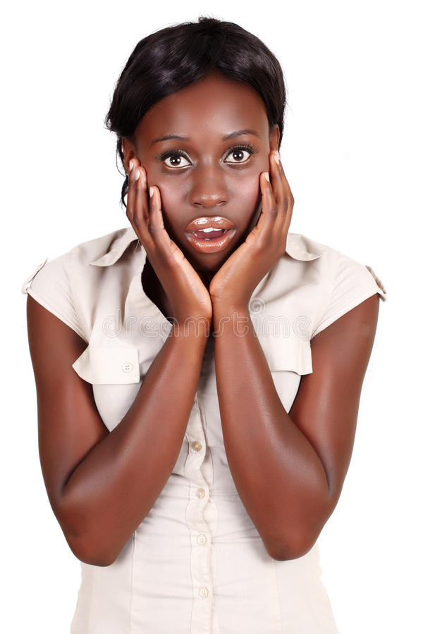 Afrikaanse onderneemster Amercian in schok stock afbeeldingen