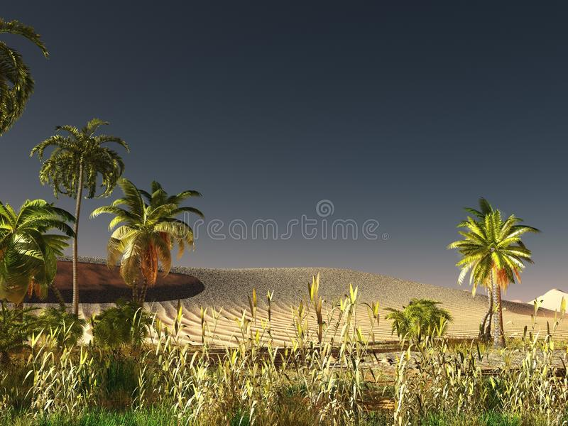 Afrikaanse savanne met het overvloedige en levendige het installatieleven 3d teruggeven royalty-vrije illustratie