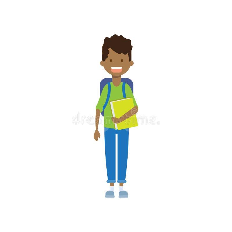 Afrikaanse schooljongen met boek, volledige lengteavatar op witte achtergrond, succesvol studieconcept, vlak beeldverhaalontwerp stock illustratie