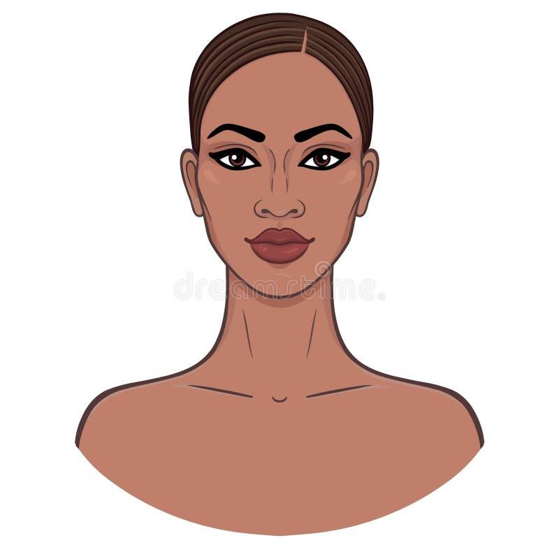 Afrikaanse Schoonheid Animatieportret van het jonge zwarte vector illustratie
