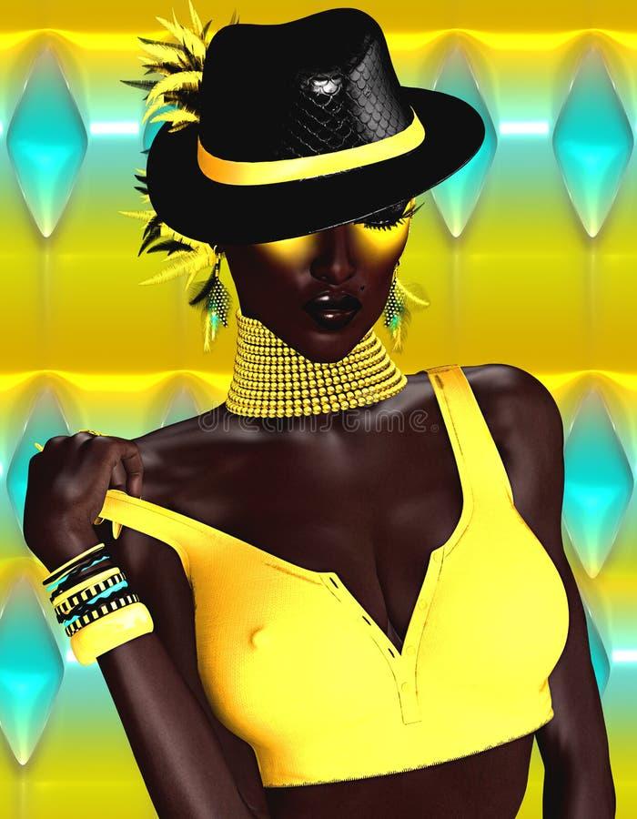 Afrikaanse Schoonheid en Manier royalty-vrije illustratie