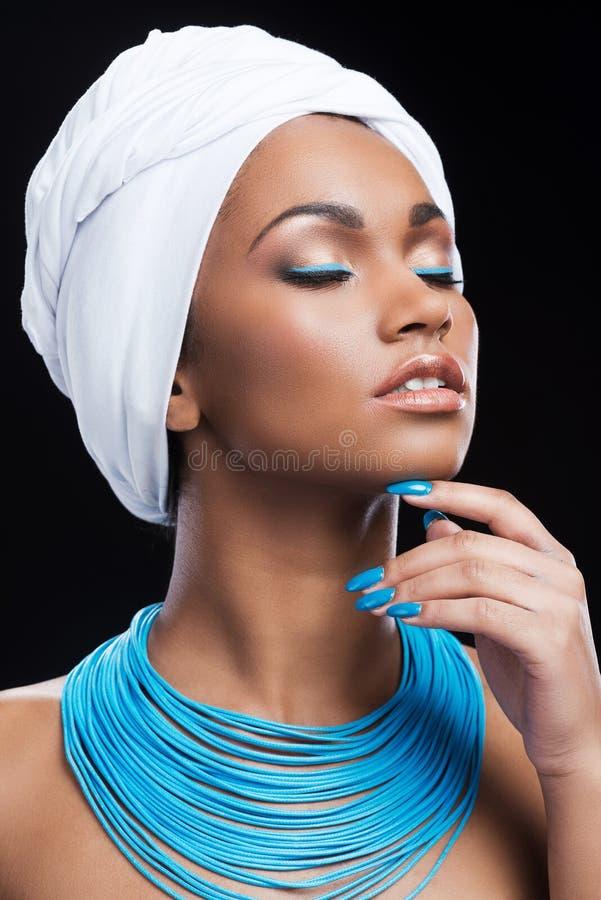 Afrikaanse schoonheid in stijl royalty-vrije stock afbeelding