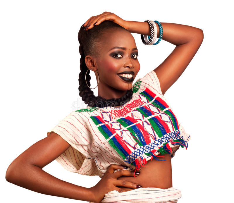 Afrikaanse schoonheids traditionele kleding stock foto's